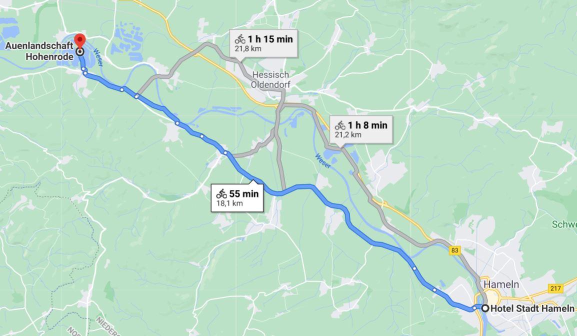 route ab hameln zur auenlandschaft Hohenrode